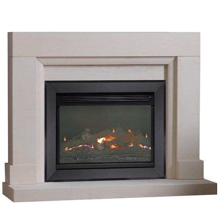 Burley Watersmeet Flueless Gas Fireplace Suite Portuguese Limestone Silhouette Trim - Portuguese Limestone
