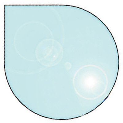EVA 12mm Teardrop Circle Glass Hearth Floor Plate (1330x1100)