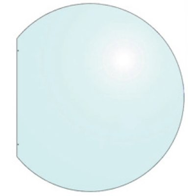 EVA 12mm Truncated Circle Glass Hearth Floor Plate (930x1000)