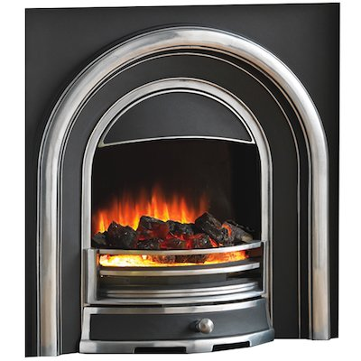 Flamerite Tennyson Elecrtric Arched Fireplace Insert Black/Highlight Polish Coal Effect Metal Framed Door