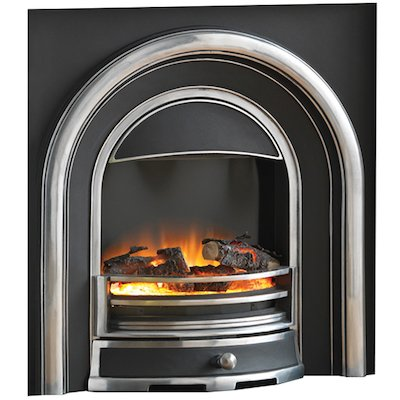Flamerite Tennyson Elecrtric Arched Fireplace Insert Black/Highlight Polish Log Effect Metal Framed Door