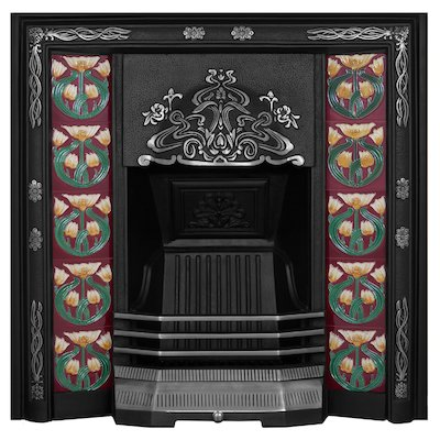 Carron Daisy Cast-Iron Tiled Fireplace Insert