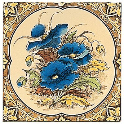 Stovax Blue Poppies Single Ceramic Fireplace Tile