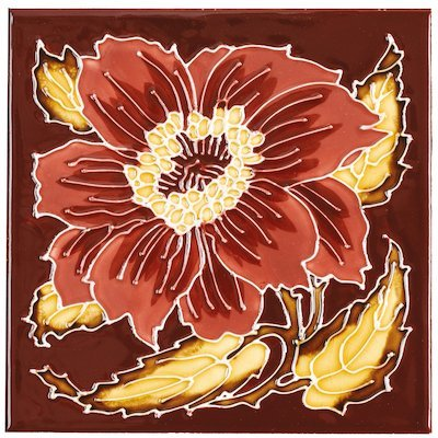 Stovax Chrysanthemum Tubelined Single Ceramic Fireplace Tile