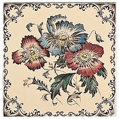 Stovax Poppies Scroll Single Ceramic Fireplace Tile