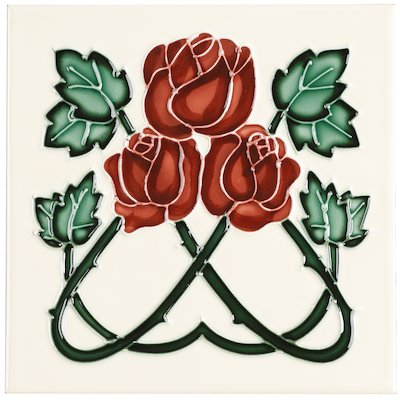 Stovax Red Roses Tubelined Single Ceramic Fireplace Tile