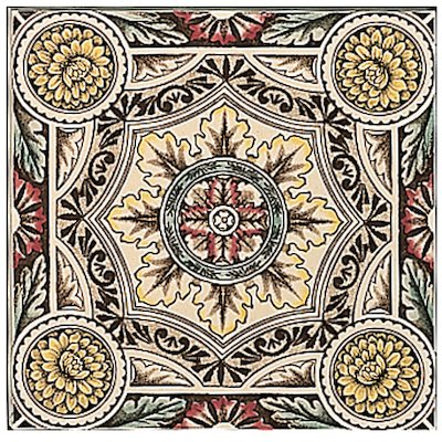 Stovax Symmetrical Floral Single Ceramic Fireplace Tile