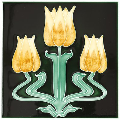 Stovax Tulips Tubelined Single Ceramic Fireplace Tile