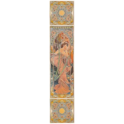Stovax Alphonse Mucha Evening Reverie Ceramic Fireplace Tile Set (5) Multicolour Left Version Black Glass Framed Door
