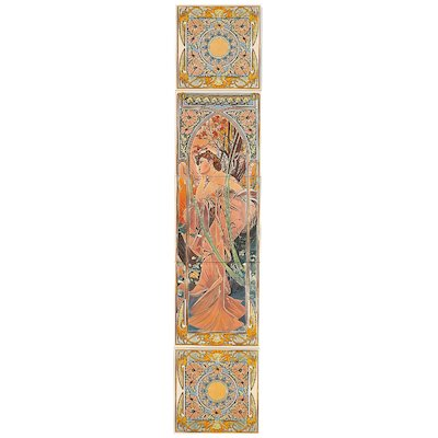 Stovax Alphonse Mucha Evening Reverie Ceramic Fireplace Tile Set (5) Multicolour Right Version Metal Framed Door