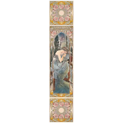 Stovax Alphonse Mucha Nocturnal Slumber Ceramic Fireplace Tile Set (5) Multicolour Left Version Black Glass Framed Door