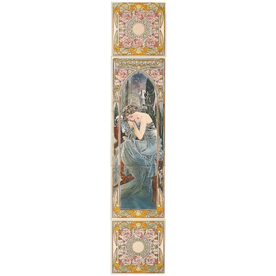Stovax Alphonse Mucha Nocturnal Slumber Ceramic Fireplace Tile Set (5) Multicolour Right Version Metal Framed Door