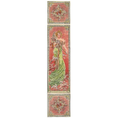 Stovax Alphonse Mucha Spring Ceramic Fireplace Tile Set (5) Multicolour Left Version Black Glass Framed Door