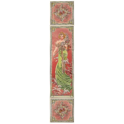 Stovax Alphonse Mucha Spring Ceramic Fireplace Tile Set (5) Multicolour Right Version Metal Framed Door