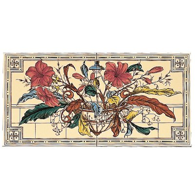 Stovax Plant & Urn Ceramic Fireplace Two Tile Set