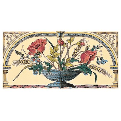 Stovax Poppy & Wheatsheaf Ceramic Fireplace Two Tile Set