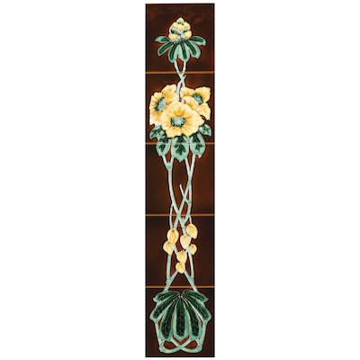 Stovax Rhododendron Tubelined Ceramic Fireplace Tile Set (5)
