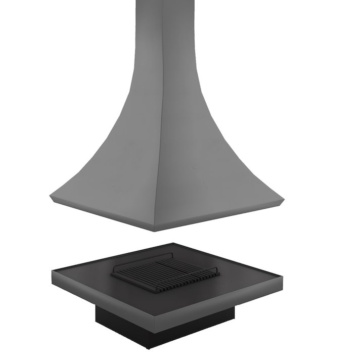 JC Bordelet Julietta 985/100 Central Open Fireplace - Anthracite Grey