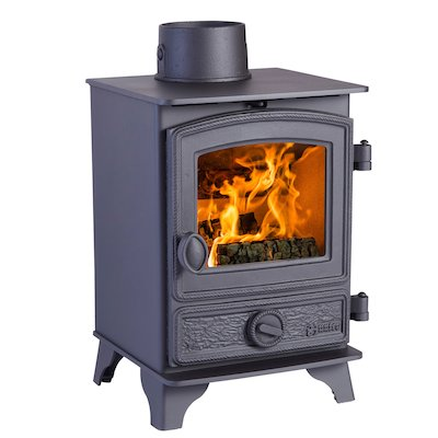 Hunter Hawk 3 Wood Stove Black Rope Effect Door