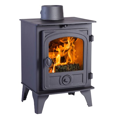Hunter Hawk 4 Wood Stove Black Contemporary Door