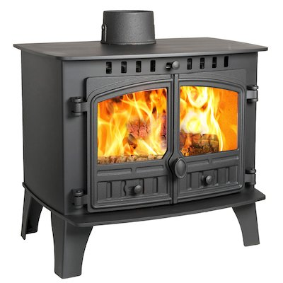 Hunter Herald 14 Wood Stove Black Double Doors