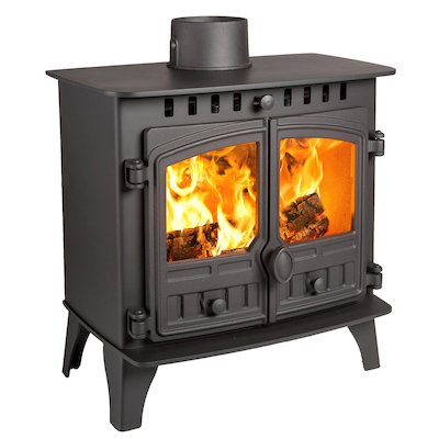 Hunter Herald 5 Slimline Wood Stove Black Double Doors