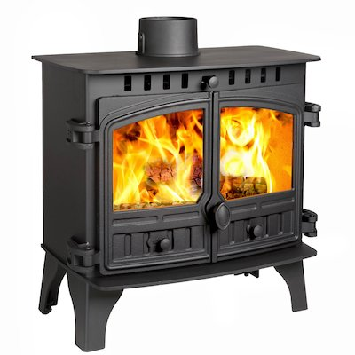 Hunter Herald 8 Slimline Wood Stove Black Double Doors