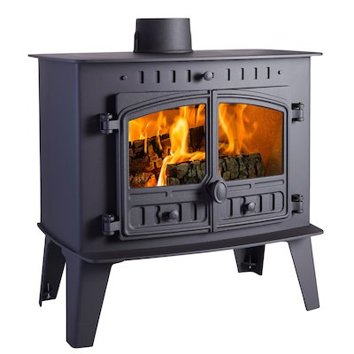 Hunter Herald Inglenook High Wood Stove Black Double Doors