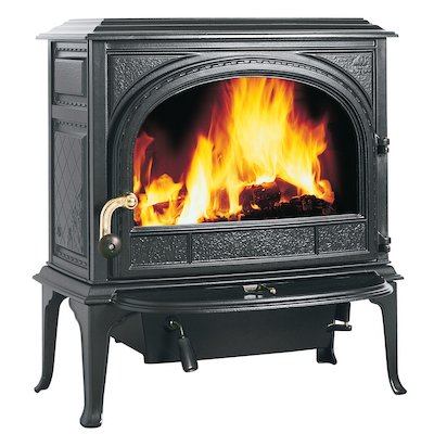 Jotul F400 Wood Stove Enamel Blue/Black Clear Glass Door