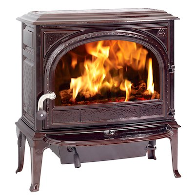Jotul F400 Wood Stove Enamel Majolica Brown Clear Glass Door