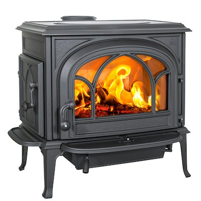 Jotul F500 Wood Stove Black Tracery Glass Door