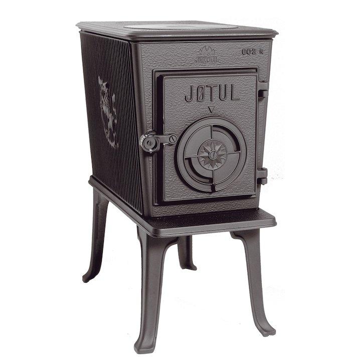 Jotul F602 Wood Stove Black Solid Cast Door - Black