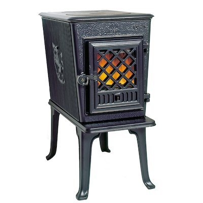 Jotul F602 Wood Stove Enamel Blue/Black Tracery Glass Door