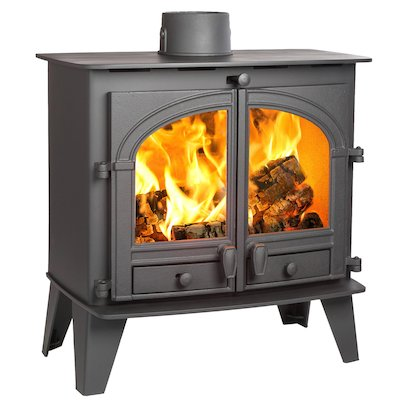Parkray Consort 9 Slimline Wood Stove Black Double Doors