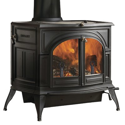 Vermont Defiant 2in1 Wood Stove Black Clear Glass Door