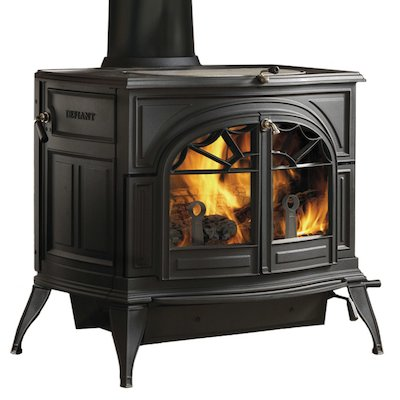 Vermont Defiant 2in1 Wood Stove Black Tracery Glass Door