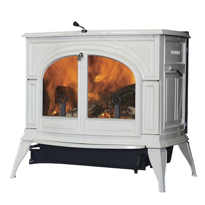 Vermont Defiant 2in1 Wood Stove Enamel Biscuit Clear Glass Door