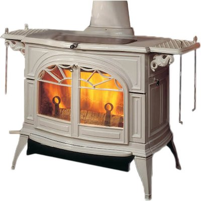 Vermont Defiant 2in1 Wood Stove Enamel Biscuit Tracery Glass Door
