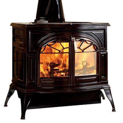 Vermont Defiant 2in1 Wood Stove Enamel Majolica Brown Tracery Glass Door