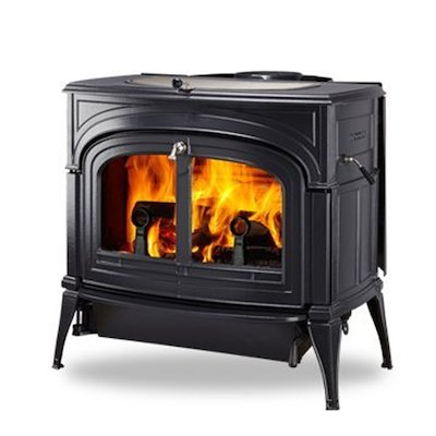 Vermont Encore 2in1 Wood Stove Black Clear Glass Door