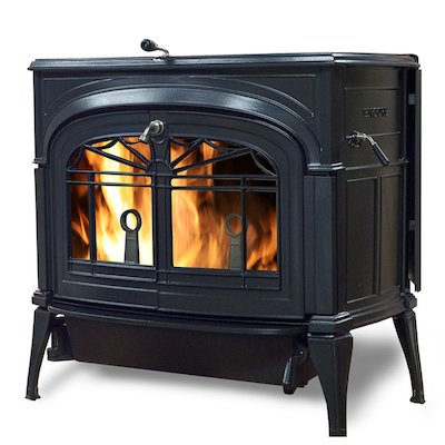 Vermont Encore 2in1 Wood Stove Black Tracery Glass Door