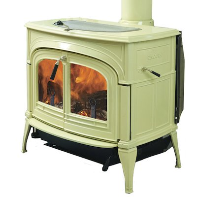 Vermont Encore 2in1 Wood Stove Enamel Biscuit Clear Glass Door