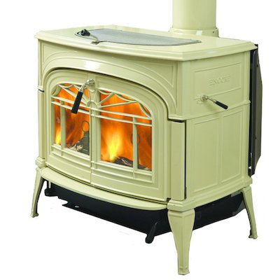 Vermont Encore 2in1 Wood Stove Enamel Biscuit Tracery Glass Door