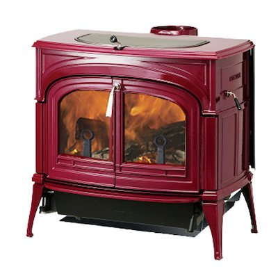 Vermont Encore 2in1 Wood Stove Enamel Bordeaux Clear Glass Door