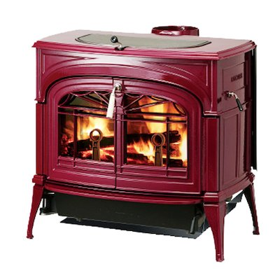 Vermont Encore 2in1 Wood Stove Enamel Bordeaux Tracery Glass Door