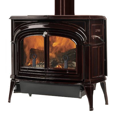 Vermont Encore 2in1 Wood Stove Enamel Majolica Brown Clear Glass Door