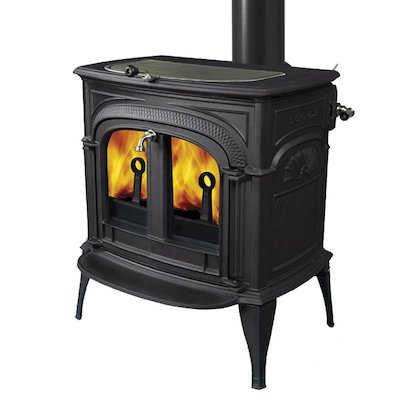 Vermont Intrepid II Wood Stove Black Clear Glass Door