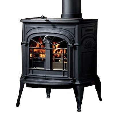 Vermont Intrepid II Wood Stove Black Tracery Glass Door