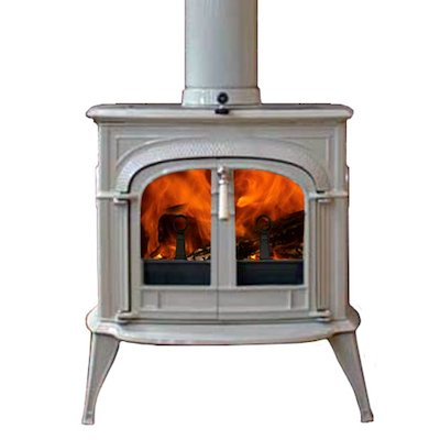Vermont Intrepid II Wood Stove Enamel Biscuit Clear Glass Door
