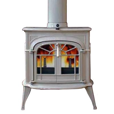 Vermont Intrepid II Wood Stove Enamel Biscuit Tracery Glass Door